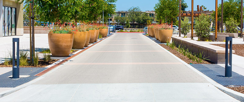 an image of a smooth walkway paved with lovely light colored bricks
